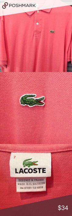 Lacoste Pink Men's Polo shirt Pink men's size 7/XL Lacoste polo shirt Lacoste Shirts Polos