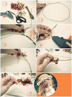 teara de flores Aprenda a fazer a sua própria coroa de flores