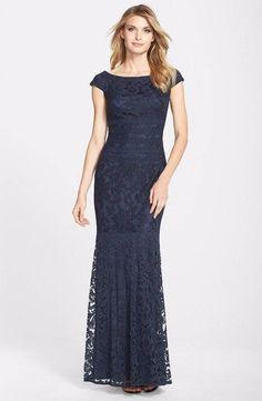 $298 Tadashi Shoji Textured Lace Mermaid Gown Dress  Size  16