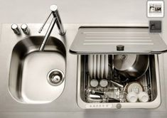 Dishwasher designed to fit in the space of a kitchen sink. Perfect for apartment or small space living. Dishwasher designed to fit in the space of a kitchen sink. Perfect for apartment or small space living.