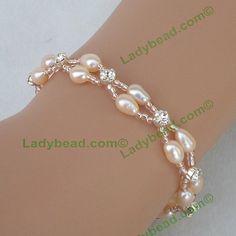 Bracelet Blush Pearl Swarovski Rhinestone