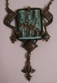 egyptian revival necklace   Egyptian revival ushabti necklace