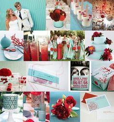 red aqua wedding