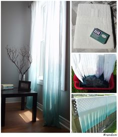DIY Ombre Curtains (using Rit powdered dye) - So easy and looks amazing. Not sure I would DIY but I like the look. Diy Ombre, Ombre Curtains, Mint Curtains, Porch Curtains, Sheer Curtains, Frozen Room, Diy Home Decor, Room Decor, Sweet Home