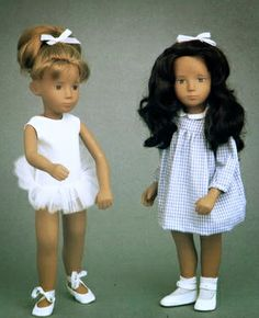 """15"""" vinyl redhead Sasha Ballet doll and very dark-haired brunette Sasha Gingham doll, very early models with hand-painted faces (possibly prototypes), from the Design Council Slide Collection, United Kingdom, 1966, by Frido Ltd."""
