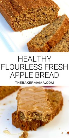Apple bread made healthier without sacrificing flavor or texture. No flour needed, sweetened with honey, and loaded with fresh apples, it's quick to make and tastes so great! Healthy Flourless Fresh Apple Bread The BakerMama Gluten Free Baking, Gluten Free Desserts, Apple Muffins Gluten Free, Apple Recipes Gluten Free, Dairy Free Bread, Best Gluten Free Bread, Apple Recipes Easy, Healthy Baking, Healthy Desserts