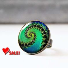 Valentine Sale Green and Blue Ring Large Statement Ring Colorful Bohemian Photo Ring Glass Dome Psychedelic Fractal Ring 5002-4 by StudioDbronze