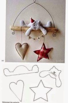 ARTESANATO COM QUIANE - Paps,Moldes,E.V.A,Feltro,Costuras,Fofuchas 3D: Molde Gatinho de Natal