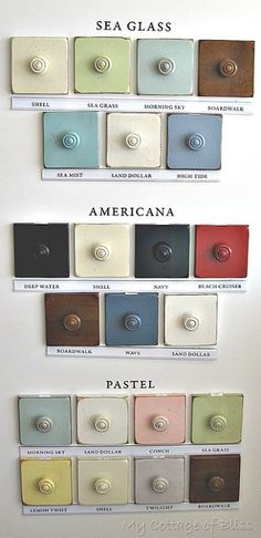 Love these sea glass colors!Paint Coastal Living magazine and Stanley Furniture There are 14 different (yummy) colors and finishes, all organized into three color palettes. Beach Cottage Style, Coastal Cottage, Coastal Style, Coastal Decor, Coastal Colors, Southern Style, Beach House, Coastal Entryway, Coastal Farmhouse