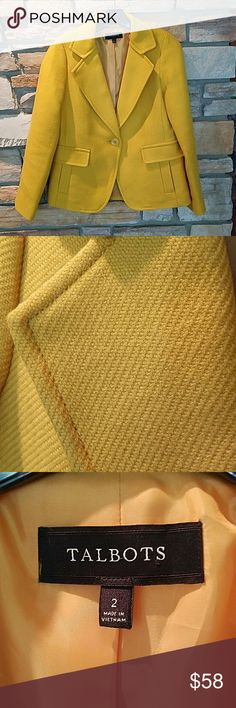 """Talbots wood blazer - schoolboy fit - mustard This is an amazing blazer, never been worn!!! The color is perfect for fall. 60%acrylic 40% wool. 23.5"""" arm length, 17""""chest, 23.5 length. It fits like a 4-6 from j.crew. a bit too big for me. It's definitely a great addition to someone's wardrobe! Great paired with white button down and jeans!! Talbots Jackets & Coats Blazers"""