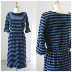 1980's terry striped button back shift dress by SchoolofVintage