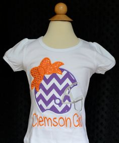 Personalized Name your Team Clemson Football Helmet Applique Shirt or Onesie on Etsy, $25.00