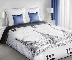 PARIS přehoz na jednolůžko v bílo černé barvě Comforters, Blanket, Bed, Furniture, Home Decor, Creature Comforts, Quilts, Decoration Home, Stream Bed