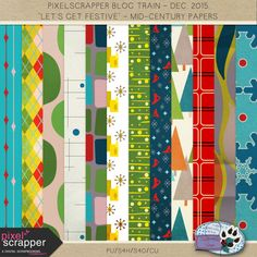 Freebie Mid-Century Modern papers for the PixelScrapper December 2015 blog train. These are designed with year-round usability in mind, not just for this Christmas kit.