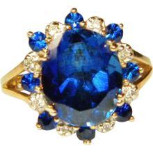 Estate 10k YG Sapphire & Diamond Ring, Size 7
