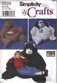 Animal Bean Bag Chair Pattern Uncut Simplicity 9229 Child Size