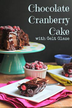 Chocolate Cranberry Cake with Gelt Glaze