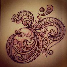 Aum. #design #drawing #tattoo #tattoodesign #sketch #mehndi #lace #linework #pattern #paisley #om #aum #domholmestattoo