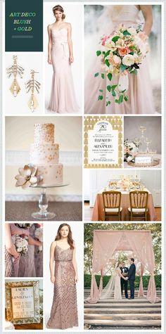 Blush and gold art deco wedding ideas