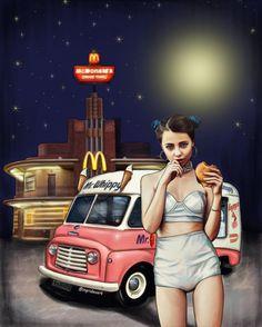 illustration, girl, '80, mac, burger, drawing, art