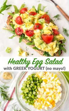 Healthy Egg Salad with Greek yogurt and NO MAYO! Cool, creamy, and low carb, thi… - Egg Salad Egg Salad Without Mayo, Healthy Egg Salad, Healthy Mayo, Egg Salad Sandwich Recipe Healthy, Healthy Egg Breakfast, Quick Healthy Lunch, Avocado Egg Salad, Egg And Grapefruit Diet, Boiled Egg Diet Plan