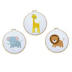 Cross Stitch Pattern of Cute Jungle Animals - Elephant, Giraffe, and Lion - Digital File/ Instant Download - Hoop Art