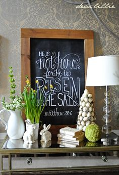 Awesome chalk board Easter textImage of He Is Not Here 24x36 Chalkboard Download