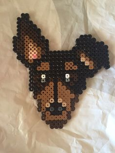 Doberman Pinscher dog hama perler beads pyssla crafting kids