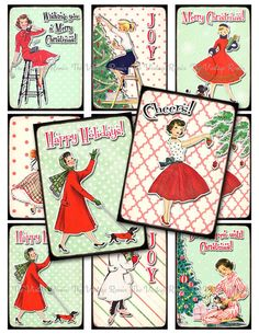 INSTANT DOWNLOAD, Digital Collage Sheet, Retro Christmas Tags, Printable Labels, Holiday, Vintage Pin Up, Housewife Girls, atc aceo by TheVintageRemix on Etsy https://www.etsy.com/listing/114565872/instant-download-digital-collage-sheet