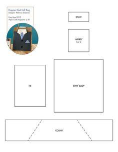 May/June 2012 Patterns (Dapper Dad Gift Bag Scrapbook Cards, Scrapbooking, Card Making Templates, Shaped Cards, Fathers Day Cards, Card Patterns, Card Tutorials, Card Sketches, Copics