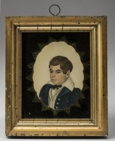 MINIATURE PORTRAIT OF A YOUNG BOY IN BLUE COAT. ATTRIBUTED TO RUFUS PORTER (1792-1884). Est. $800-$1,200