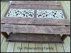 Iron grating?  15 Cool Things to Make with Pallets {tutorials} Out door cafe table