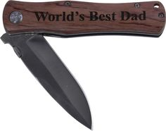 World's Best Dad Folding Pocket Knife - Great Gift for Father's Day, Birthday, or Christmas Gift for Dad, Grandpa, Grandfather, Papa, Husband (Wood Handle). GIFT FOR ANY OCCASION: Father's day, Birthday, Christmas, Valentines Day, Anniversary. 3.5 Inch Stainless steel Blade. When open the knife measures 8 inches, and 4.5 Inches Closed. A pocket clip on the back will keep the knife securely by the users side. Black anodized aluminum or Wood grip, stainless steel blade.