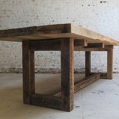 Reclaimed Wood Table by Van Jester Woodworks - Love the modern shapes with rough hewn rustic wood
