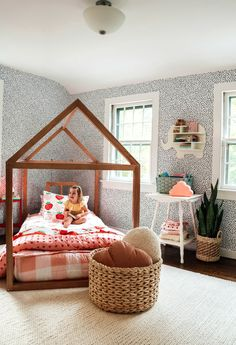 Girls Toddler Bedroom Makeover- Drew Barrymore Collection - Nesting With Grace Little Girl Bedrooms, Girl Rooms, Toddler Girl Bedrooms, Kids Bedroom Ideas For Girls Toddler, Kids Room, Decoration Inspiration, Decor Ideas, House Beds, Bedroom Accessories