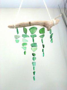 Green sea glass mobile// Sea glass// Sea Glass decor// Sea Glass Mobile// Beach…