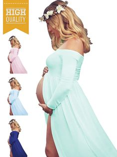7424a834fbe69 Maternity Styles - best maternity dresses : Womens Off Shouler Long Sleeve  Maternity Dress for Photography
