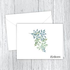 Blue & Green Foliage - Personalized Printed Note Cards Small Letters, Personalized Note Cards, White Envelopes, Card Stock, Blue Green, Birthday Gifts, Great Gifts, Notes, Printed