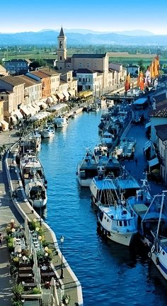 Cesenatico, a port town in the province of Forlì-Cesena in the region of Emilia-Romagna, Italy, above San Marino Places Around The World, Oh The Places You'll Go, Travel Around The World, Places To Travel, Places To Visit, Around The Worlds, Travel Things, Travel Stuff, Italy Vacation