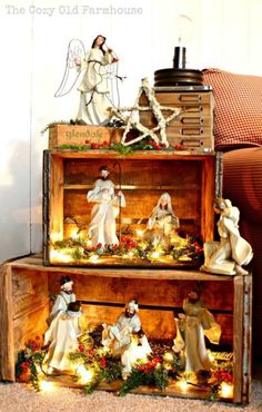 Such A Pretty Way To Display A Nativity. Or then again A Christmas Village Wood Crates. I Like The Idea Of Stacking These To Make A Pseudo Bookshelf For A Rustic Christmas Display, And I Love The Lights Inside, Everything Looks Better Lit Up Noel Christmas, All Things Christmas, Winter Christmas, Christmas Crafts, Christmas Nativity Scene, Christmas Village Display, Christmas Vacation, Outdoor Christmas, Christmas Christmas
