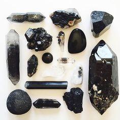 Black smoky quartz and tourmaline crystals Crystals Minerals, Rocks And Minerals, Crystals And Gemstones, Stones And Crystals, Grounding Crystals, Gem Stones, Crystal Magic, Crystal Grid, Crystal Healing