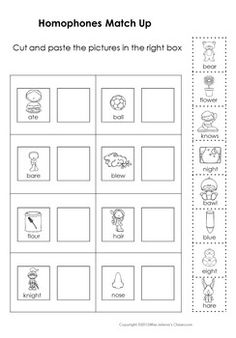 Homophones Matching Set for young learners. This set has 3 color worksheets and 6 black and white worksheets + answer keys to practice matching homophones. Homophones Matching Set is also part of Matching Sets Bundle. Esl Resources, Cut And Paste, Matching Set, Worksheets, Classroom, Squad