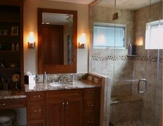 BKC Kitchen and Bath master bath remodel: Crystal Cabinet Works, Huntington door style, Chestnut finish on cherry