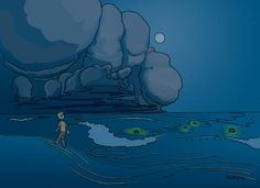 daily sketch, whimsical monsters the eyes out at sea.
