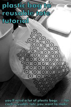 Awesome way to use up around 20 plastic grocery bags to create a reusable grocery bag!