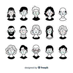 Cartoon people avatar pack Vector | Free Download People Illustration, Line Illustration, Portrait Illustration, Character Illustration, Graphic Design Illustration, Digital Illustration, Cartoon People, Cartoon Faces, Cartoon Drawings