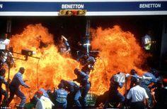 1994 German Grand Prix at Hockenheim - Jos Versappen Fire - Benetton Pit Crew F1 Crash, F1 Motorsport, Formula 1 Car, World Of Sports, Race Day, Benetton, Fire Trucks, Grand Prix, Touring