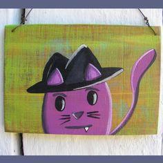 Primitive Funky Folk Art Purple Cat Wearing Hat Original Painting