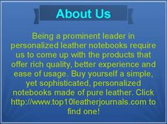 Weather you are a copywriter, textbook writer, journalist, designer or manual writer, the leather journals refillable works perfect for all professional and amateur work. Top10leatherjournal is a portal solely dedicated to providing best journals to anyone possessing love for writing. Click http://www.top10leatherjournals.com to know more!