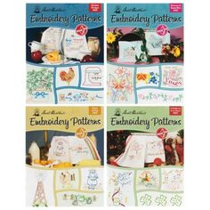 Aunt Martha's Embroidery Pattern Books - The most popular sets now available in pattern books. Each book contains at least 24 different transfer pattern designs. Pattern Designs, Quilt Kits, Pattern Books, Aunt, Needlepoint, Embroidery Patterns, Needlework, Cross Stitch, At Least